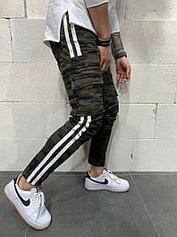 😝 Джинсы - Камуфляжные мужские джинсы с вставками белыми по бокам