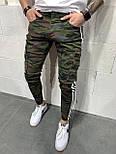 😝 Джинсы - Камуфляжные мужские джинсы с вставками белыми по бокам, фото 2