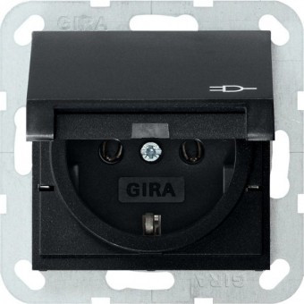 Розетка с з/к и крышкой GIRA System 55 чёрный матовый