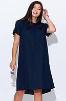 Платье летнее из льна темно-синего цвета. Модель 22066. Размеры 50-56