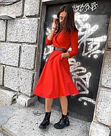 Женское платье креп костюмка чёрный красный 42-44 44-46