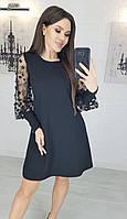 Женское платье рукава цветы креп изумруд электрик лиловый чёрный бордовый 42 44 46 48 50 52