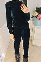 Женский спортивный костюм бархат бутылка чёрный бордо S-M M-L