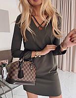 Женское платье костюмка черный хаки бордо 42-44 44-46