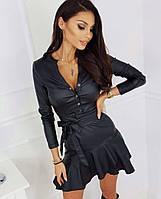 Женское платье экокожа черный молоко 42-44 44-46