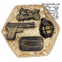 Мыло для мужчины в подарок набор жетон, мотоцикл, пистолет, граната