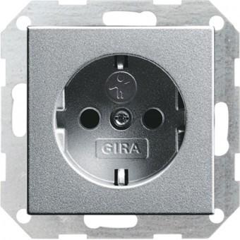 Розетка с заземлением и защитными шторками GIRA System 55 алюминий