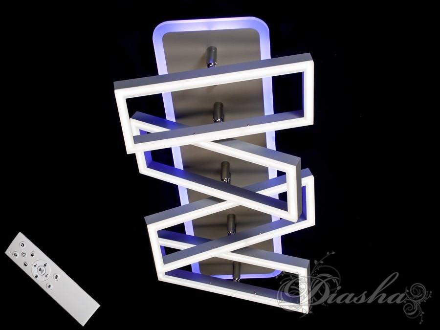 Прямокутна сучасна стельова люстра 11019/4GR LED 3color dimmer