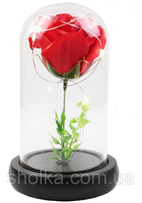 Вечная роза. Стабилизированная роза в колбе с LED подсветкой, ночник МАЛЕНЬКАЯ КРАСНАЯ №A51