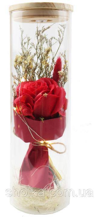 Вечная роза. Роза в колбе с LED подсветкой, ночник БОЛЬШАЯ КРАСНАЯ №A52