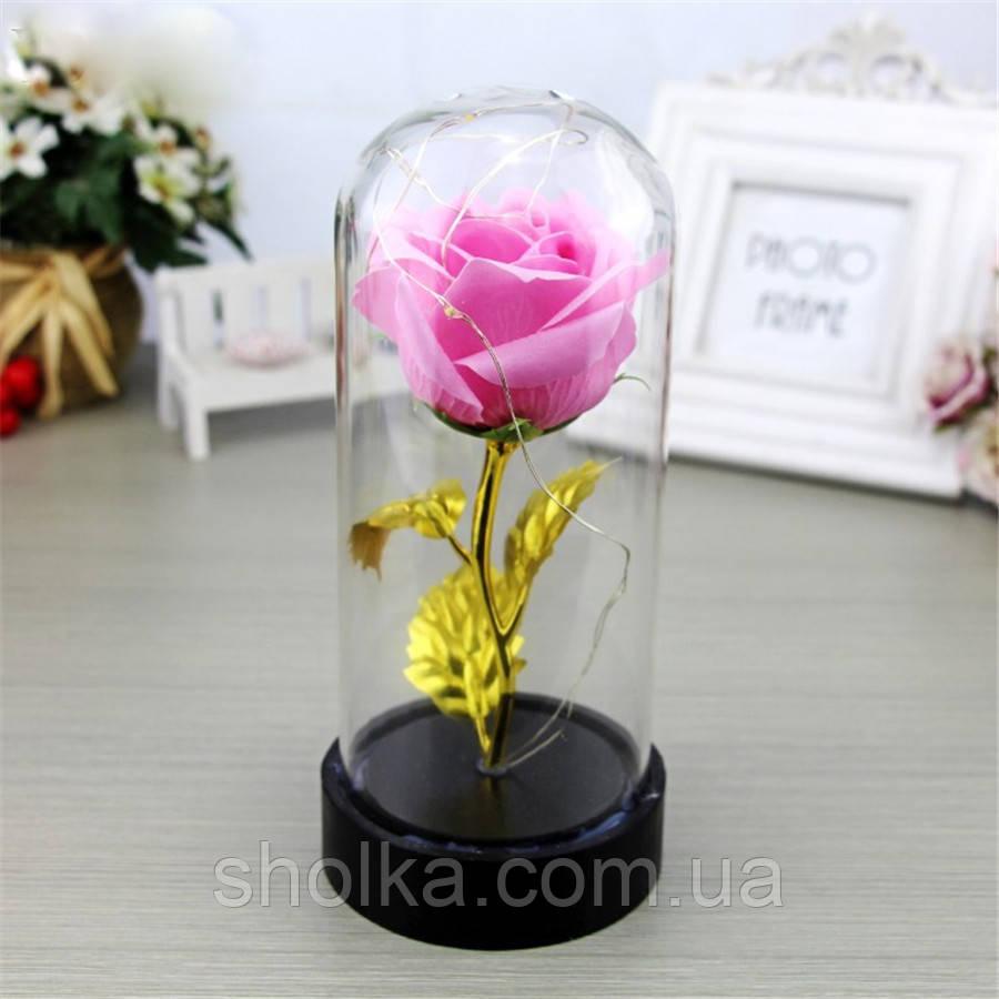 Вечная роза. Роза в колбе с LED подсветкой, ночник МАЛЕНЬКАЯ РОЗОВАЯ №A54