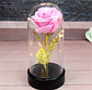 Вечная роза. Роза в колбе с LED подсветкой, ночник МАЛЕНЬКАЯ РОЗОВАЯ №A54, фото 2