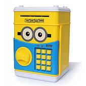 Копилка детский сейф Миньон с кодовым замком и купюро приемником для бумажных денег и монет Миньон желтый