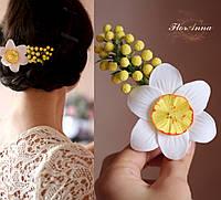 """Украшение  для волос с цветами из полимерной глины """"Нарцисс с мимозой"""""""