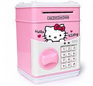 Музыкальная копилка сейф Hello Kitty, с кодовым замком принимает бумажные деньги и монеты