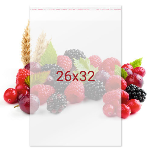 Пакет упаковочный полипропиленовый с клейкой лентой для пищевых продуктов - 26х32, 100 шт
