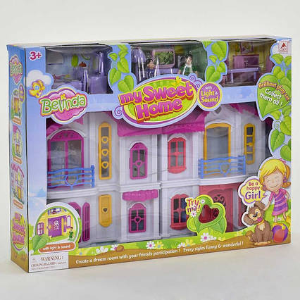 Домик 16660 (12) складной, 2 этажа, 2 фигурки персонажей, мебель, звук, свет, на батарейках, в коробке