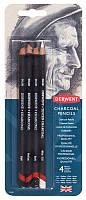 Набор угольных карандашей Charcoal, 4 шт, в блистере, Derwent