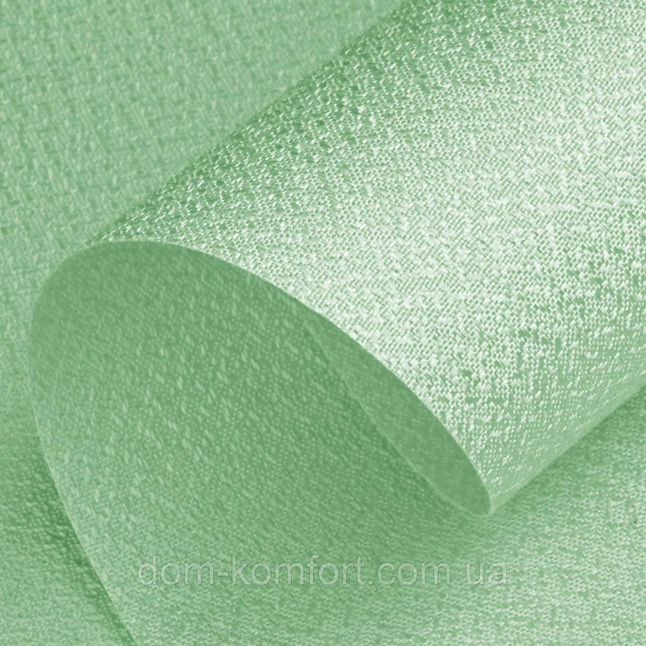 Рулонные шторы открытого типа ткань перламутровая цвет Green