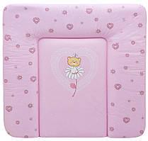 Пеленальний матрац Maltex м'який 72х75 см ведмедик на квіточці, рожевий