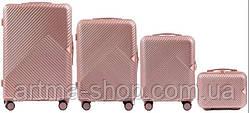 Набор премиум казачества чемоданов WINGS Розовое золото с кодовым замком 4шт