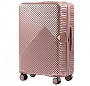 Чемодан из поликарбоната премиум Wings 65 л Розовое золото, на 4-х колесах средний TSA, кодовый
