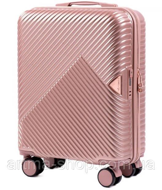 Чемодан из поликарбоната премиум Wings 35 л Розовое золото,  ручная кладь на 4-х колесах малый TSA, кодовый