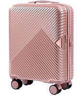 Чемодан из поликарбоната премиум Wings 35 л Розовое золото,  ручная кладь на 4-х колесах малый TSA, кодовый, фото 1