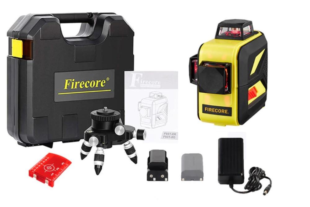 ТОЧНІСТЬ 1мм на 10метров ВІДКАЛІБРОВАНИЙ☀ПОСИЛЕНИЙ КЕЙС☀⇒30м☀Лазерний рівень Firecore F93T XR ➤⏏Красний луч⏏