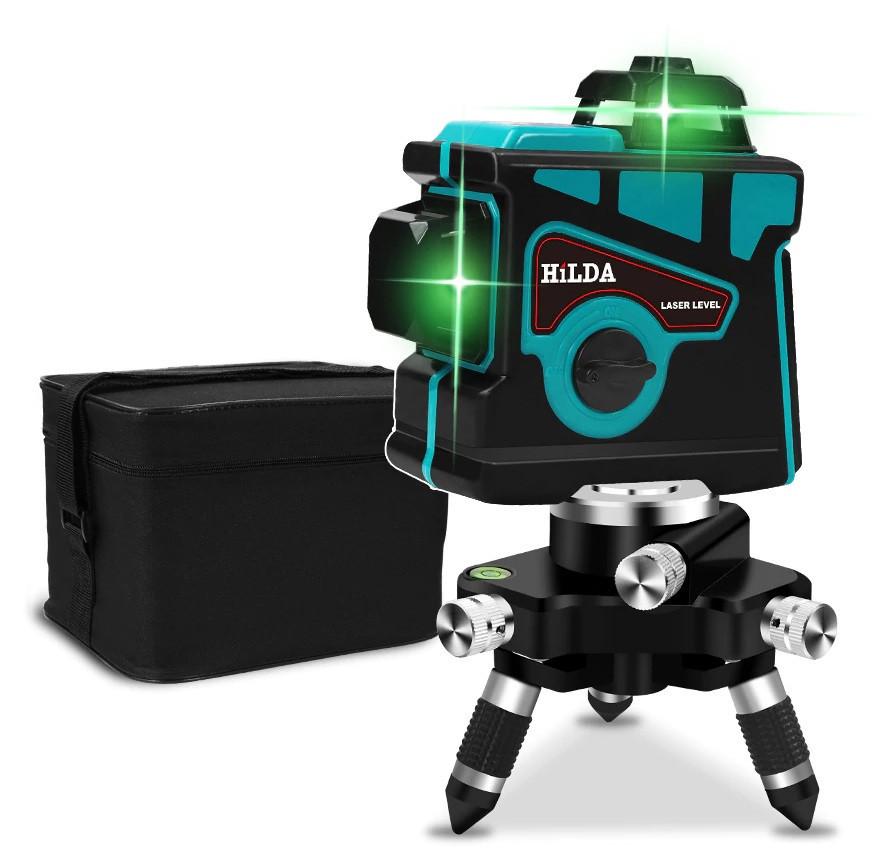 БІРЮЗОВИЙ ПРОМІНЬ ДО 50 МЕТРІВ!!! Лазерний рівень HILDA 3D найвигіднішу пропозицію