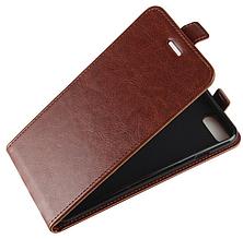 Кожаный чехол флип для iPhone 6 6S коричневый