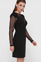 Коктейльное платье с сетчатыми рукавами черное Береника
