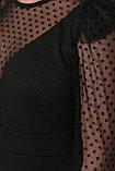 Коктейльное платье с сетчатыми рукавами черное Береника, фото 5