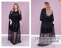 Длинное женское черное платье с гипюром и кружевом
