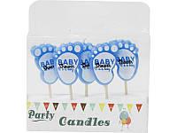 """Набор Свечи для торта голубые на палочке ножки """"Baby Shower"""" Гендер пати (5 штук)"""