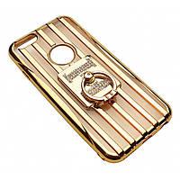 Чехол на iPhone 6/6s силиконовый прозрачный с полосками под металл, с колечком, со значком HERMES COV-035
