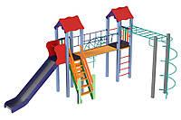 Детский игровой развивающий комплекс Вагончик, высота горки 1,5 м KDG (11784)