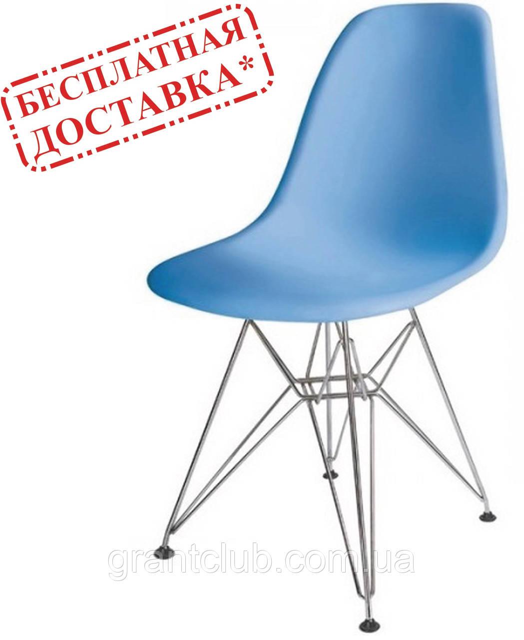 Стул Тауэр голубой пластик ножки хром СДМ группа (бесплатная доставка)