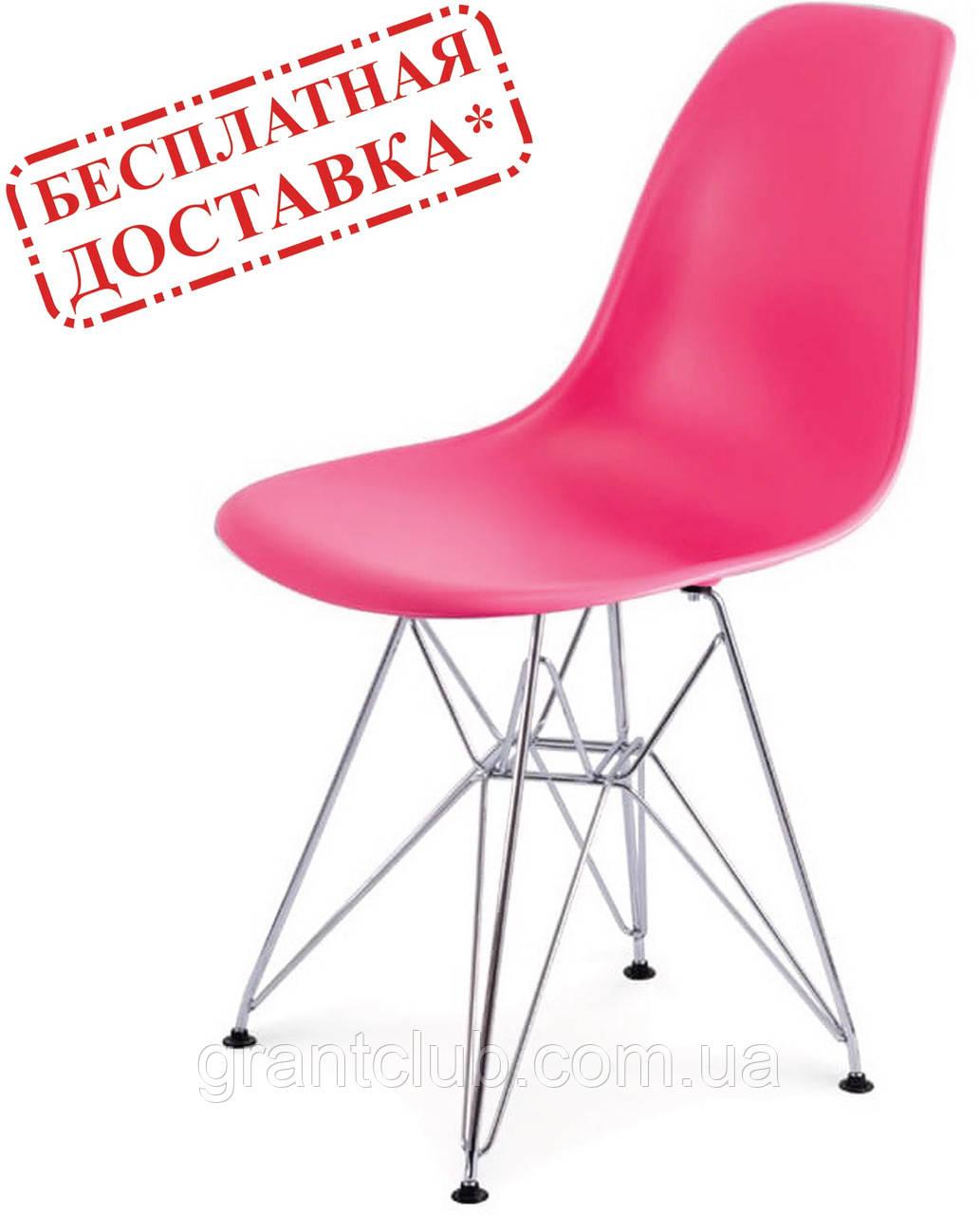 Стілець Тауер рожевий пластик ніжки хром СДМ група (безкоштовна доставка)