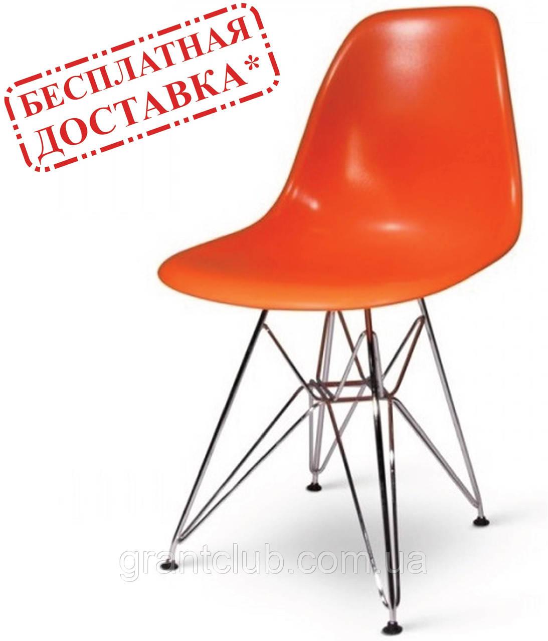 Стул Тауэр оранжевый пластик ножки хром СДМ группа (бесплатная доставка)