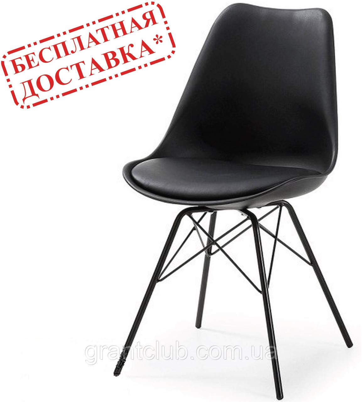 Стілець Тау м'який чорний пластик ніжки метал СДМ група (безкоштовна доставка)