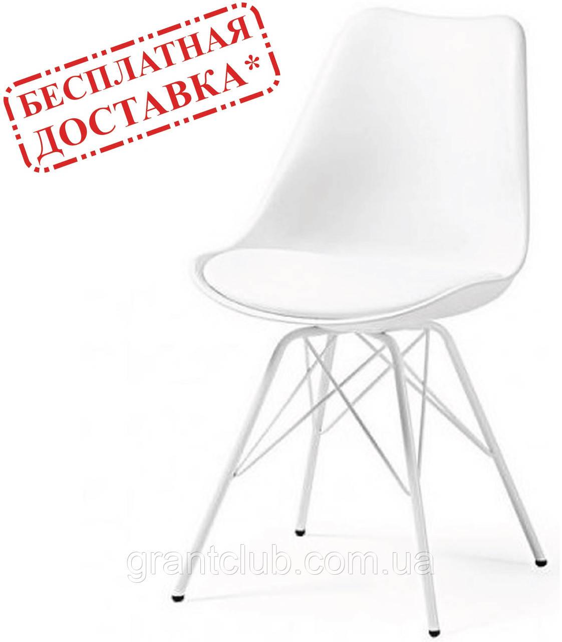 Стілець Тау м'який білий пластик ніжки метал СДМ група (безкоштовна доставка)