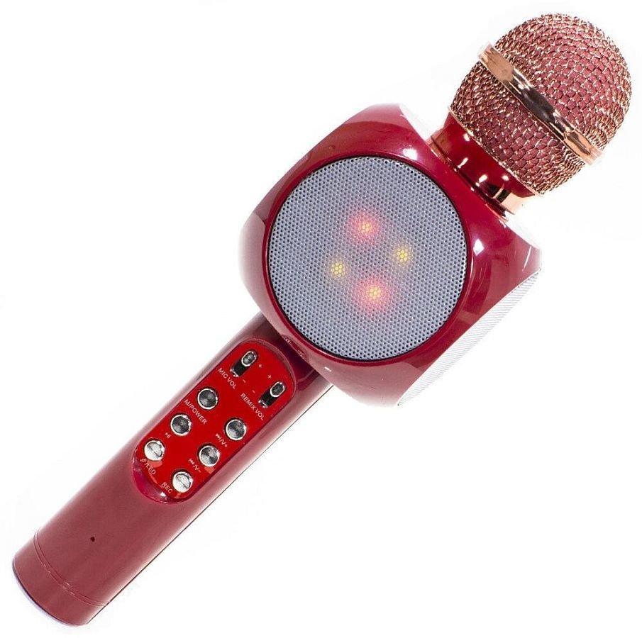 Беспроводной микрофон караоке с динамиком и цветомузыкой Ws-1816, red