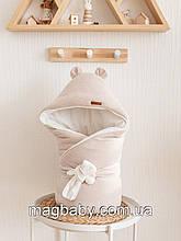 Демисезонный велюровый конверт-одеяло Velvet, бежевый