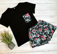 Пижама футболка и шорты  L-XL фламинго