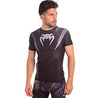 Комплект компрессионный мужской (футболка с коротким рукавом и шорты) Venum (PL, M-XL (RUS 46-52), черный-серый) PZ-CO-5448-CO-5441-BK