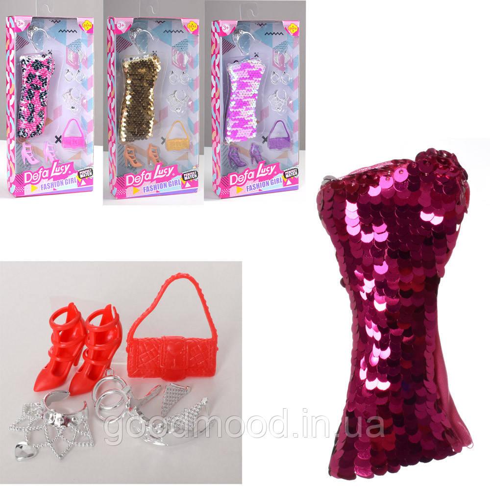 Лялькове вбрання DEFA 8432 сукня (паєтки), сумочка, взуття, 4 види, кор., 11,5-23-3 см.