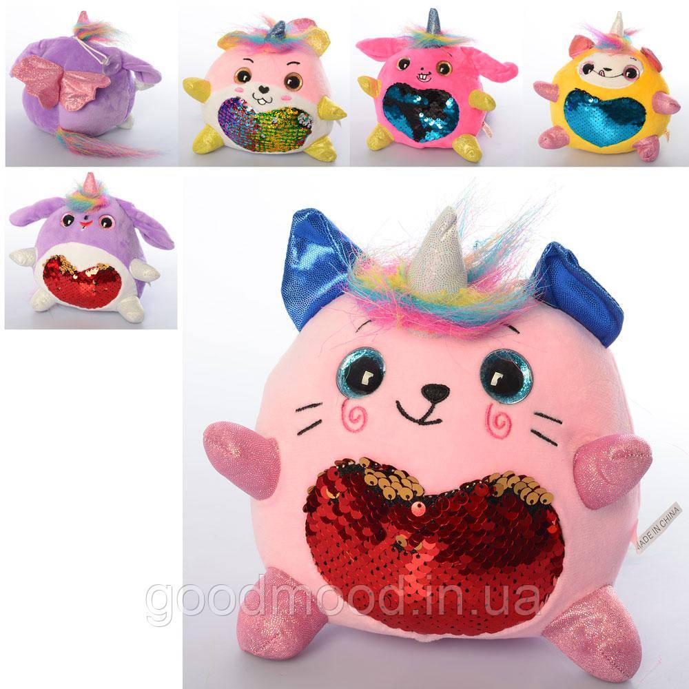 М'яка іграшка MP 2121 тварина/єдиноріг, присоска, паєтки (серце), мікс кольорів, 15 см.