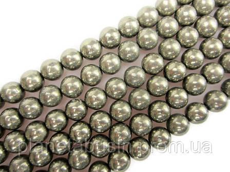 10 мм Пирит, Натуральный камень, Форма: Шар, Отверстие: 1-1.5 мм, кол-во: 38-40 шт/нить, фото 2