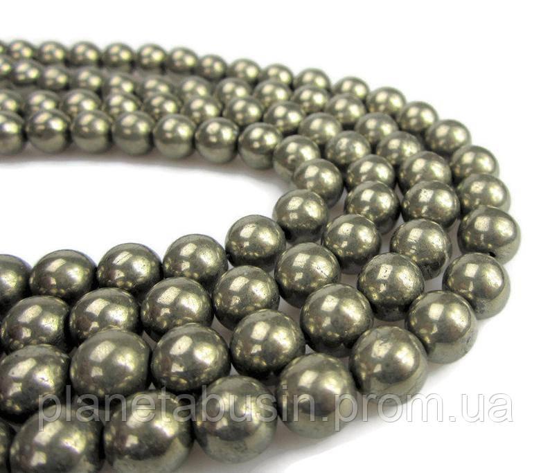 10 мм Пирит, Натуральный камень, Форма: Шар, Отверстие: 1-1.5 мм, кол-во: 38-40 шт/нить